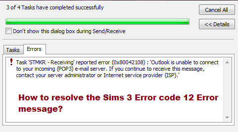 How to resolve the Sims 3 Error code 12 Error message