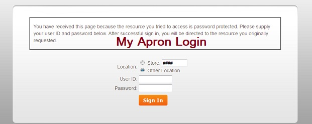 My apron login process